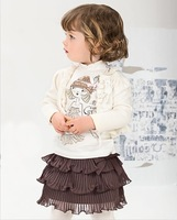 Retail-2013 New Baby Girls Autumn Clothing Sets Kids Capelet 3pcs Suits for 2-6 years Children's Outfits and Sets