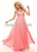 Free Shipping Unique Design Beading Empire Waistline Long Evening Prom Dress Custom Size Color