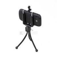 10pcs/lot Universal Antiskid Phone Clamp Cellphone Holder Standard 1/4 Screw With Mini Black Tripod Free Shipping