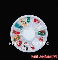 Free Shipping 24pcs/set Mixed 3D Christmas Style Nail Art Tips Fimo Decoration Wheel Christmas Nail Polymer Clay Diy