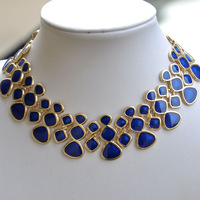 Order $16 automatically free shipping .Fashion Designer Jewelry Blue Enamel Bubble Bib Statement Necklace Shorts Women Wholesale