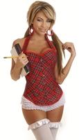 Hot sale ML4064 Sexy Schoolgirl Plaid Halter Corset