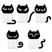 Free Shipping! WQ0731-2  Cute single Color Cartoon DIY Switch Stickers Socket Paste Furnishings Wall Stickers wholesle