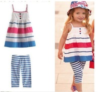 New 2013 hot sale summer clothing set children girls short triped leggings condole belt suit