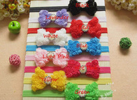 Free Shipping 20 Pcs/ Lot Baby Headband Children's Chiffon Rose Bow Headbands With Kids Pearl Headbands