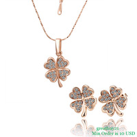 18KGP-S011 Free Shipping High Quality  Rhinestone Jewelry Sets 18K Rose Gold Plated Clover Necklace & Earring Factory Price