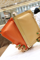 Metal embossed plaid hemming japanned leather clutch cowhide chain one shoulder cross-body day clutch