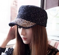 Retail! Korean Latest Trend Starry Fake-diamond Decorative Flat Hats for Male&Female Fashion Lace Mesh Baseball Cap Multicolor