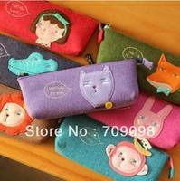 Free shipping/ New korean animal series felt fabric pencil bag / pencil case / pencil pouch / pen bag wholesale