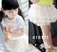 Free shipping children kids clothes skirt baby girls sweet tutu skirt child lace cake skirt multi-layer tutu skirt Beige