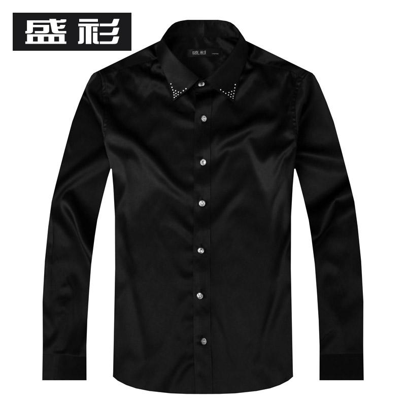 100% real silk  men's shirt  high quality black male  silk shirt long-sleeve business formal crystal button rhinestones shirt(China (Mainland))