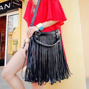 2013 fashion bag tassel bag vintage rivet bag female bags big bags handbag black
