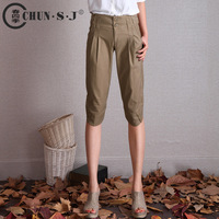 Vintage 2013 candy color shorts casual capris women's harem pants plus size