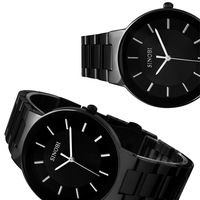All Black Steel Men's Quartz Casual Wrist Watch Fashion Rose Gold Time Point Free Shipping