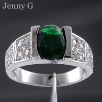 Jenny G Jewelry Men's Size 9,10,11 Green Emerald Solitaire 10KT White Gold Filled Cocktail Ring Free Shipping