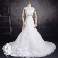 Premier Wedding New Arrival Actual Pictures Luxury Sweetheart Floral Lace Beaded Ruffles Beaded Corset Lace Up Bridal Gowns