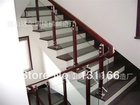 304 stainless steel + wood combination glass guardrail / handrail fittings