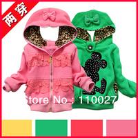 2014 baby girl hoodies fashion reversible sweatershirts lace topcoats 4pcs/lot wholesale Mickey coats cartoon zipper clothes