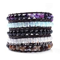 fahsion new style various of colors leather braid bracelet wholesale