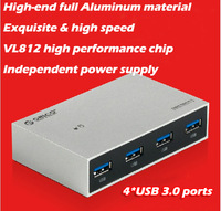 New arrival brand Orico H4999-U3 4 USB port high speed USB3.0 hub with power supply and LED light 3 years warranty free shipping