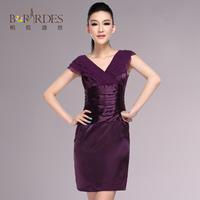 2013 spring high waist slim waist slim elegant faux silk V-neck chiffon one-piece dress female
