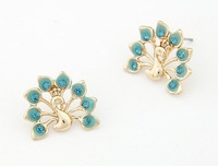 Min.Order(mix order) $10 Boutique Korean peacock shows the fan sweet earring! Free shipping E2555