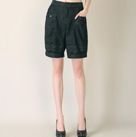 Padded knee-length pants shorts high waist pants shorts casual pants wide leg pants bloomers Women 777