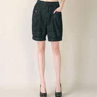 Padded knee-length pants shorts high waist pants shorts casual pants wide leg pants bloomers Women 777