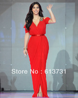 Free Shipping Kim Kardashian Red Dress In Dubai V Neck Celebrity Evening Party Gown Long Chiffon With Short Sleeves B01194