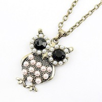 Min.order is $10 (mix order),Korean fashion Owl Necklace.Free Shipping