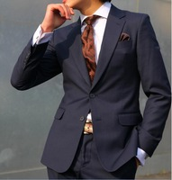 hot sale fashion 2013  men's casual  navy blue one button slim business suits  S- 4XL
