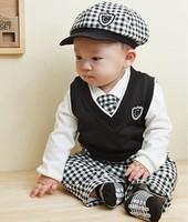BB007 1 set Retail Free shipping baby clothing set Cute boys clothes set hat+shirt+vest+tie+pants 5 pcs for autumn Kids wear