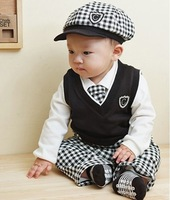 BB007 1 set Retail Free shipping baby clothing set Cute boys clothes set hat+shirt+vest+tie+pants 5 pcs for autumn Kids wear