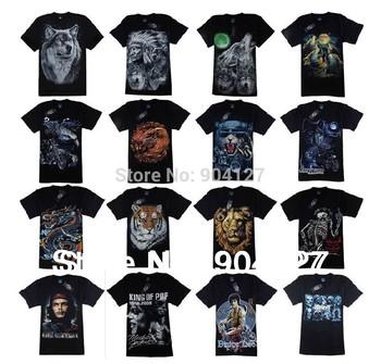 2014 Fashion Men's T Shirt 3D Wolf Print T Shirt Short Sleeve Tops M~4XL Big Size Cotton Tees