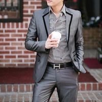 hot sale free sipping 2013 casual slim one button men's business suits grey S M L XLXXL XXXL