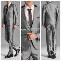 hot sale free shipping slim  men's work wear business suits grey S M L XL XXL XXXL