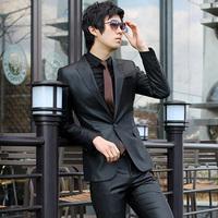 hot sale fashion brand suit casual slim business suits men's work wear clothing suit male S-4XL