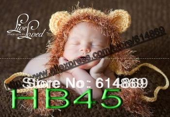 EMS free shipping,Newborn Baby Boy Girl Lion Hand Crochet Knit Hat Cap Photography Photo Prop ,children's handmade beanie hats