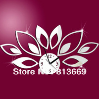 lotus diy wall mirror clocks creative digital 3d wall clock for kitchen fashion acrylic wall clocks for kid's bedroom