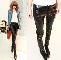 2013 women's spring autunm fashion design long slim pu leather pants legging pants Lederhosen for women free shipping
