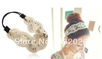 Freeshipping Wide White Lace Elastic Hairband Embroidery Kniting Women Fashion Headband,10pcs/lot