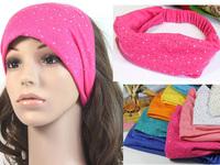 Free shipping wholesale 2013 newest elastic hair bands for women crystal rhinestone wide headband girls headwrap turban