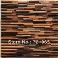 Natural wood mosaic tile 3D wall pattern NWMT021 kitchen backsplash mosaic tile wood panel strip tile mosaic floor tiles