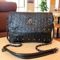 Bag 2013 women's handbag fashion punk skull bag messenger bag chain small bags