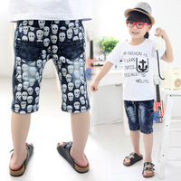 2013 summer skull boys clothing baby child denim capris 5 pants kz-1969