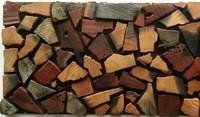 Natural wood mosaic tile NWMT031 kitchen tile backsplash mosaic 3D wood pattern pebble mosaic tiles strip tile mosaics