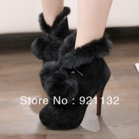 G982-40 Noble Luxurious Soft Delicate Rabbit Fur Pompon High-heeled Pumps Ankle Boots Black/Red