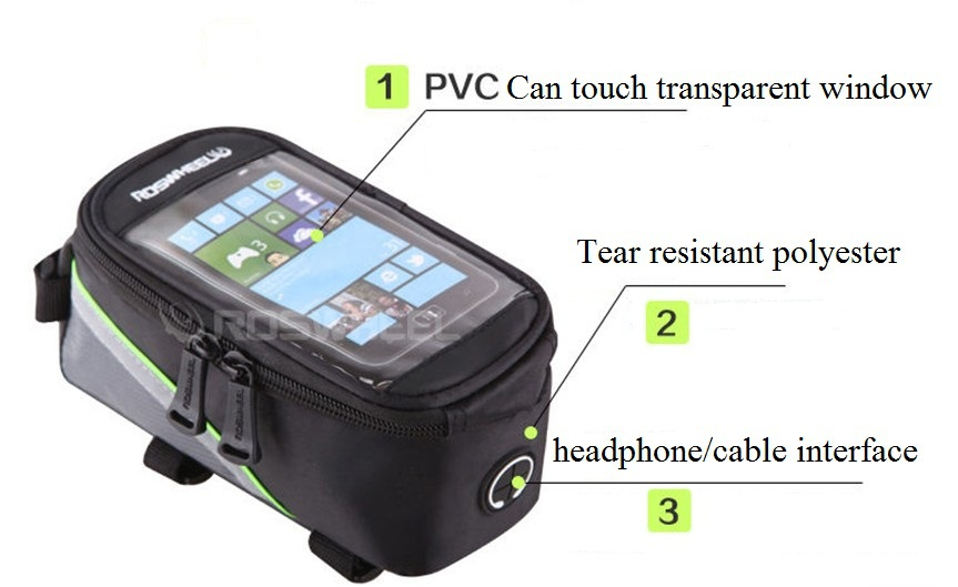 4.2 4.8 5.5 inch inches outdoor bike bicycle cycling touchscreen phone mobile iphone pouch waterproof front tube roswheel bag(China (Mainland))