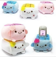 Cartoon tofu cell phone holder plush doll mobile phone cushion lovers gift toy cell phone holder