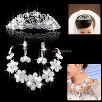 68 bride accessories peacock flower wreath married necklace female three pieces set c389
